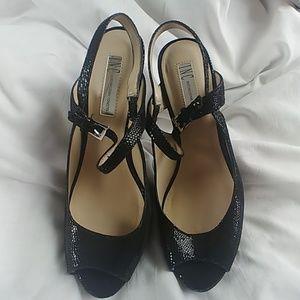 "5"" Stilettos Textured Leather Open Toed Pumps"